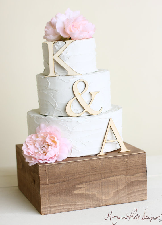 Personalized Wedding Cake Topper Wood Initials Rustic Chic