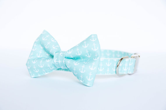 Mariage - Bow Tie Dog Collar - Pale Turquoise Anchors Aweigh