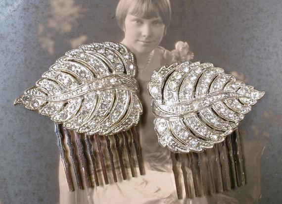 Wedding - PAIR 1920s Flapper Rhinestone Leaf Bridal Hair Combs, Vintage Art Deco Silver Pave Original Dress Clips to OOAK Wedding Hair Piece Accessory
