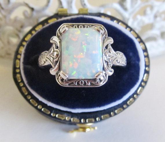 Свадьба - Opal Engagement Ring Sterling Silver /Antique  Vintage Art Deco Engraved Filigree
