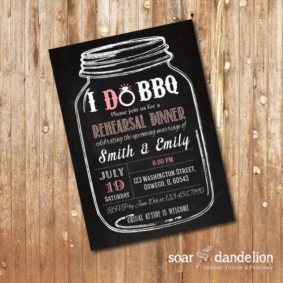 I Do BBQ Wedding Invitation. Rehearsal Dinner. Chalkboard - WI012 ...