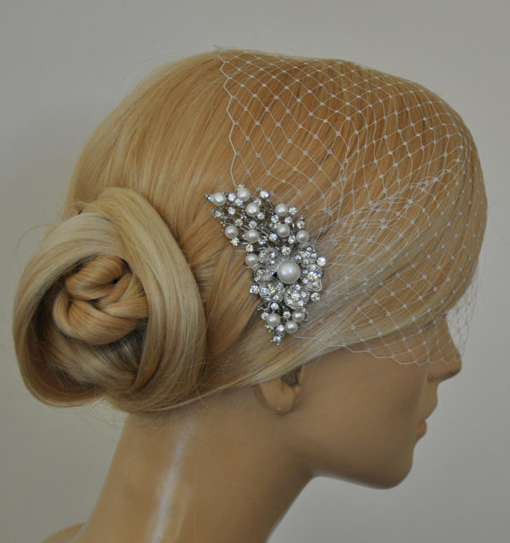 Mariage - birdcage veil and Freshwater pearls Comb (2 Items) -  Wedding comb,bridal headpieces , rhinestone bridal Hair comb