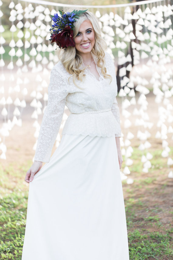 Wedding - 1940s Style Country Boho Lace Ivory Vintage Wedding Dress - Medium - Large