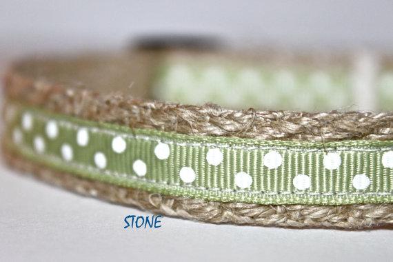 Hochzeit - 5/8 inch Wide Green Dog Collar -Polka Dot Sage & White Dog Collar - Small Dog Collar - Adjustable Dog Collar - Pet Accessories - Stone