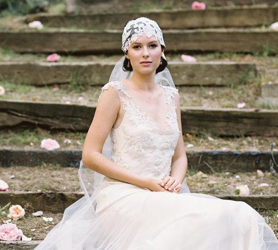 زفاف - Lace bridal cap and wedding dress