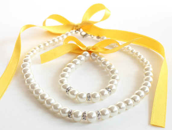 Wedding - Flower girl necklace bracelet jewelry set wedding gift junior bridesmaid pearl bracelet yellow satin ribbon