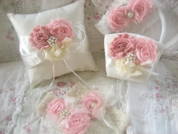Mariage - Flower Girl Basket -  Blush Rose Blossom Ivory Ring Bearer Pillow, Flower Girl Basket Wedding Pillow