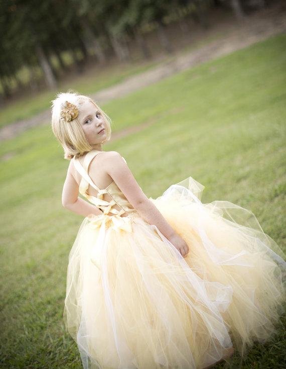 Свадьба - Pixie tutu dress..Dreamy Gold Tutu Dress ...Flower Girl Dress..Vintage Photography Prop