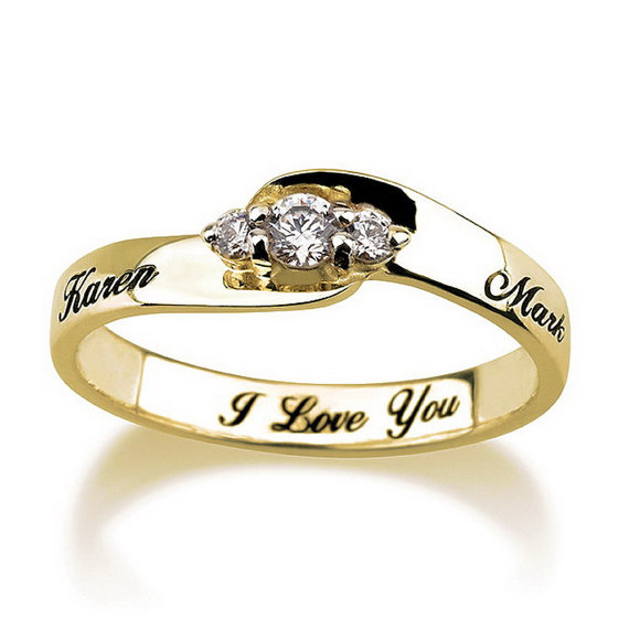 Engraved Engagement Promise Ring Gold Plated Couples Ring Wedding