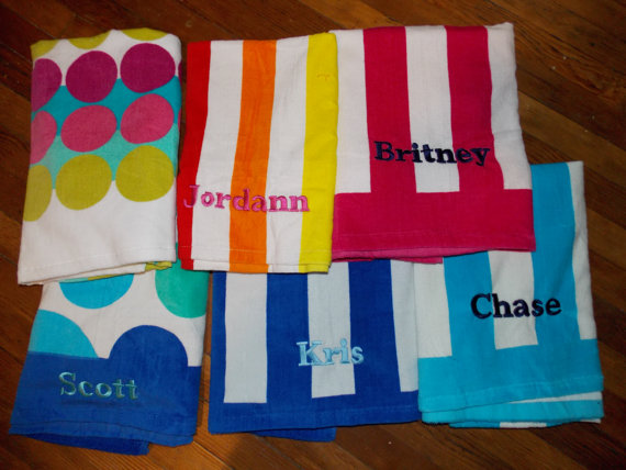 Personalized Beach Towel - Monogrammed Beach Towel, Pool Party ...