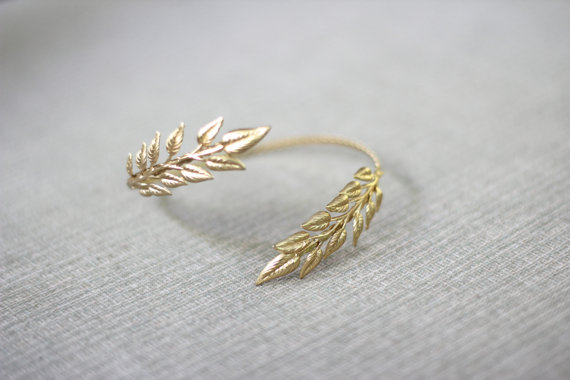 Wedding - Delicate Athena Arm Band, Greek Leaves Arm Cuff, Wrap Around Arm, Flexible Bracelet, Golden Leaves Bracelet, Bridal Jewellery, Goddess