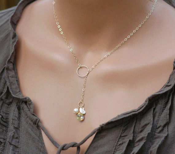 ba2f024dc Initial & Birthstone Necklace, Personalized Mothers Necklace, Gold Filled  Lariat, Bridesmaid Jewelry, Mothers Gift, Hand Stamped Initial