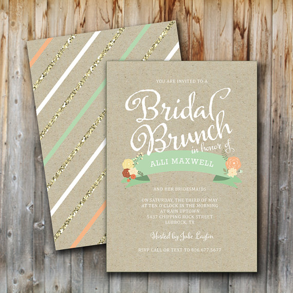 Bridal Brunch Invitation Vintage Glitter Floral Wedding Shower