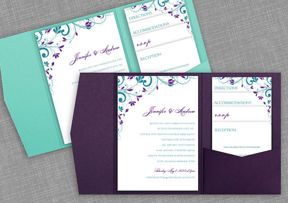 Pocket Wedding Invitation Template Set   Instant DOWNLOAD   EDITABLE TEXT    Chic Bouquet (Jade U0026 Purple / Plum)   Microsoft Word Format