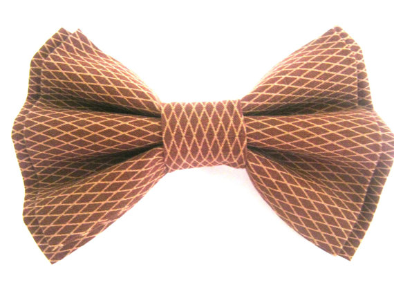 Свадьба - Dog Bow Tie Small Medium Large Removable Brown Bow Tie