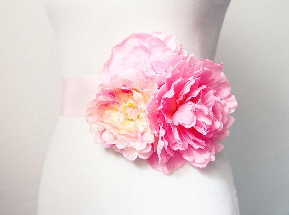 Mariage - Bridal Couture - Pink Blush Flowers Sash Belt - Wedding Dress Flower Sashes Belts