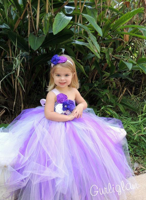 Wedding - Flower Girl Dress-Purple Flower Girl Tutu Dresses-Purple tutu dress- Birthday tutu dress