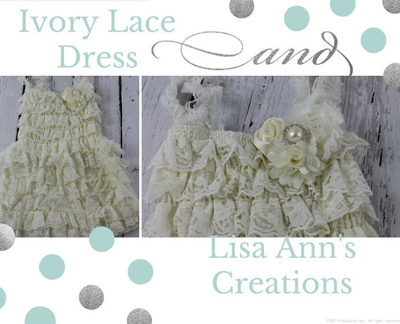 Mariage - Ivory Lace Flower Girl Dress Rustic Girls Dress Vintage Dress Bridesmaid lace dress Christening Baptism Dress Rustic  Shabby Chic Wedding