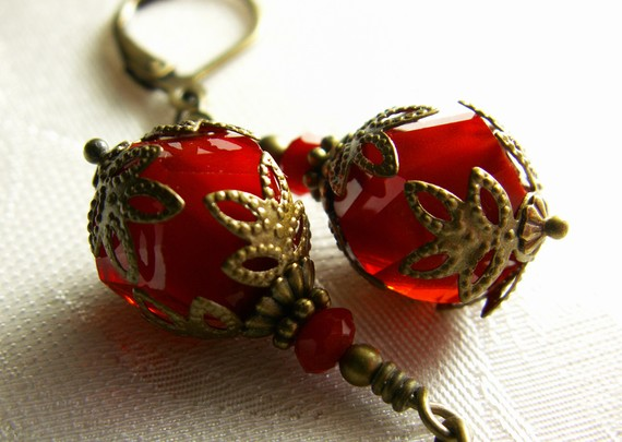 Mariage - Dark Blood Red Helix Faceted Crystal Drop Antiqued Gold Bronze Filigree Earrings Steampunk Jewelry Antique Vintage Victorian Bridal Style