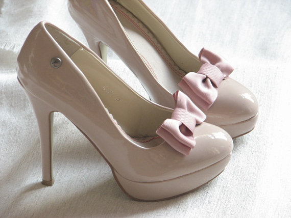 زفاف - Mauve shoe clips Dusty rose shoe clips Mauve shoe bows Dusty rose wedding Mauve wedding Antique pink shoe clips Mauve shoes Bridal shoes
