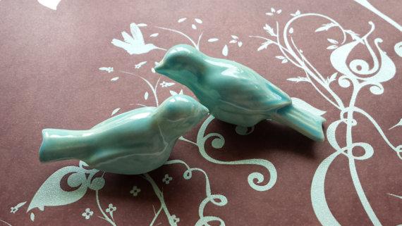 Wedding - Wedding Cake Topper  Birds Vintage Ceramic in Aqua Home Decor