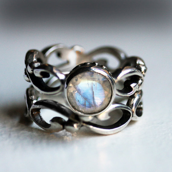 Mariage - Moonstone engagement ring set - rainbow moonstone - recycled sterling silver - swirl infinity - made to order- Wrought ring