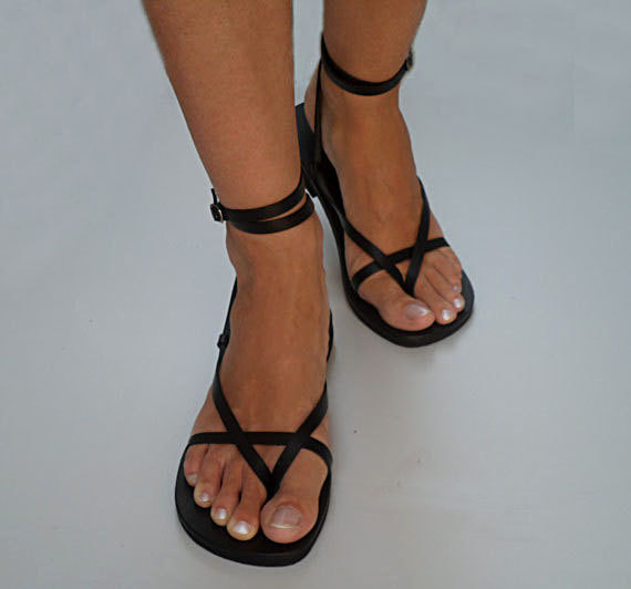Свадьба - Delicate And Stylish Double Ankle Strap Leather Sandals With Buckle - Sunshine