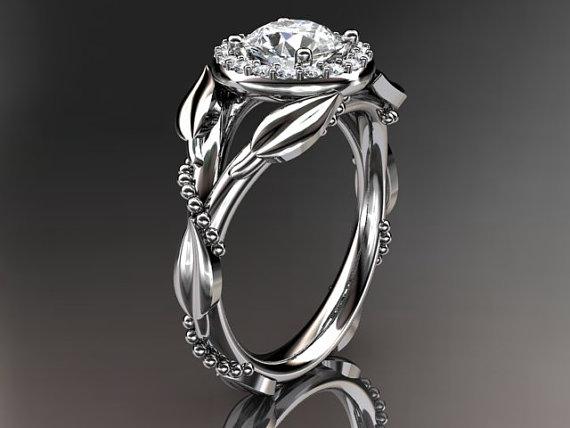Hochzeit - Platinum diamond leaf and vine,engagement ring wiht moisanite center stone, ADLR328