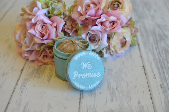 Mariage - Personalized Wedding Ring Box Keepsake or Ring Pillow Alternative- We Promise- With Burlap Pillow. Your choice of Color. Ships Quickly.