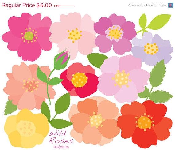 Mariage - Clipart Sale 80% off Clipart / Clip art  - Flowers Clip Art - Roses - Floral Clipart
