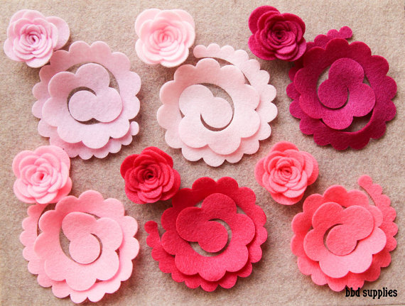 Mariage - Perfectly Pink - 3D Rolled Roses Large - 12 Die Cut Felt Flowers - Unassembled Rosettes