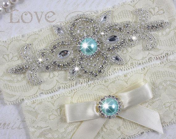 Wedding - MADRID II - Aqua/Tiffany Blue Wedding Garter Set, Lace Garter, Rhinestone Crystal Bridal Garters, Something Blue