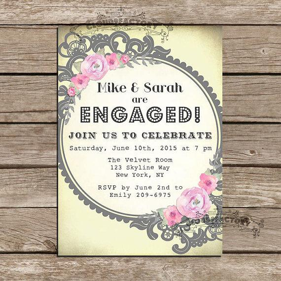 whimsical engagement party invitations yellow gray pink lace vintage