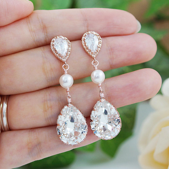 Свадьба - Wedding Jewelry Bridal Earrings Bridesmaid gift Bridesmaid Earrings CZ ear posts with Swarovski Crystal and Pearls drop dangle Earrings