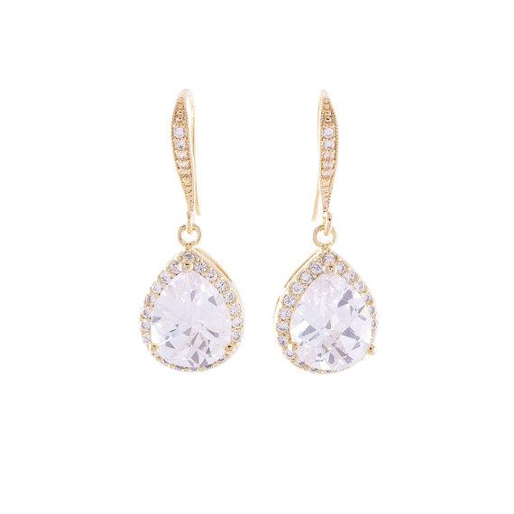 Mariage - Wedding Gold Crystal Earrings Bridal Jewelry Silver CZ Teardrop Bridal Earrings Wedding Jewelry, Bridesmaids Crystal Earrings Gold Crystals