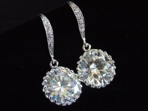 Свадьба - Wedding Jewelry, Bridal Earrings, Cubic Zirconia, Glass, Crystal Earrings, Silver, Bridesmaid Earrings, Bride Earrings, Bridesmaid Gift