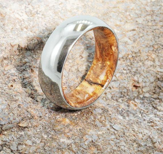 Wedding - Mens Titanium Wedding Ring with Yellow Sindora Wood sleeve - 6mm Wood Wedding bands - Men's or Ladies Jewellery - Mixed Metal - his and hers