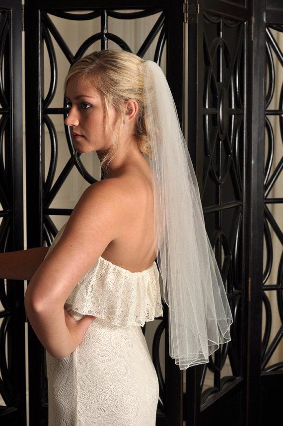 Wedding - Wedding Veil - Pencil Edge, Short Veil, Silver Metallic Pencil Edge - Elbow Length