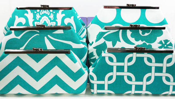 Wedding - Bridesmaid Clutches Bridal Clutches Wedding Clutches Choose Your Fabric Aqua Teal Turquoise Set of 6