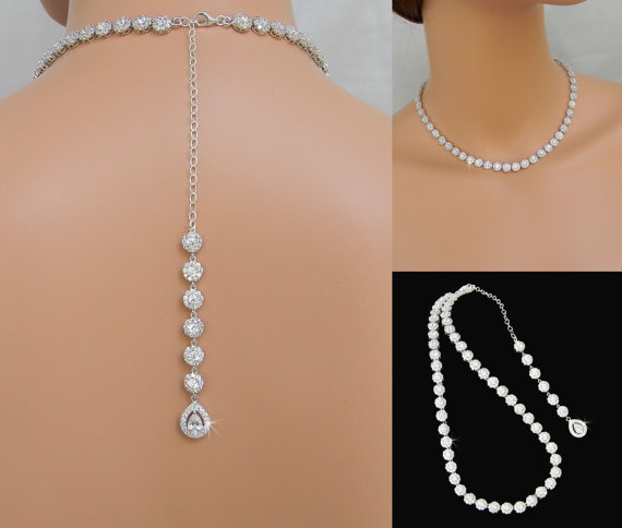 Back drop bridal necklace halo crystal wedding jewelry for Back necklace for wedding dress