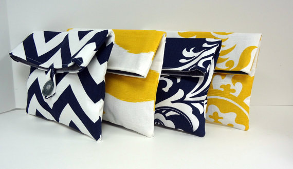 Mariage - Navy and Yellow Bridesmaid Clutch Set of 4 / Navy and Yellow Wedding / Bridesmaid Gift