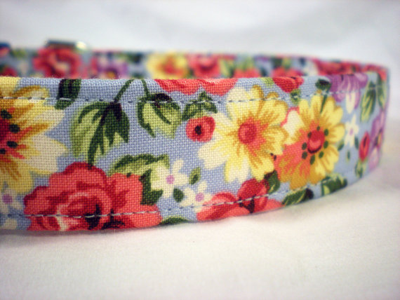 Hochzeit - Blue Grey Red Flower Girl Dog Collar by Pinkys Pet Gear on Etsy