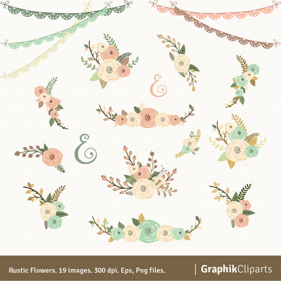 Mariage - Rustic Flowers Clipart. Floral Clipart. Floral Bouquet. Wedding Invitation. 19 images, 300 dpi. Eps, Png files. Instant Download.