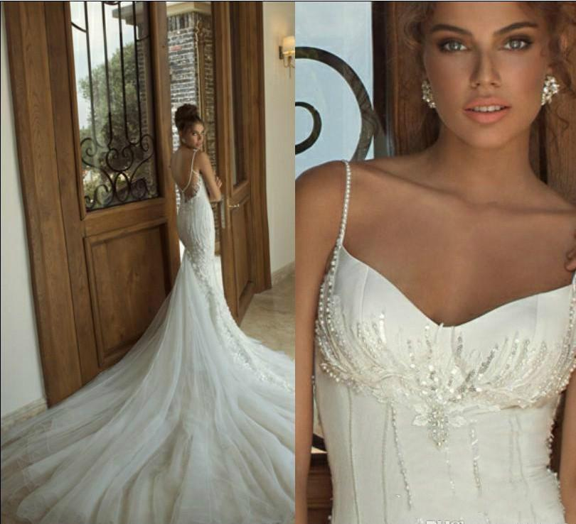 Mariage - Custom Made 2014 Beautiful Galia Lahav Lace Pearls Spaghetti Backless Wedding Dresses Bridal Gowns Online with $115.3/Piece on Hjklp88's Store