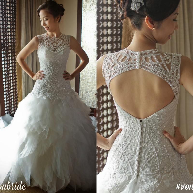 Свадьба - New Arrival 2015 Gorgeous A-line Elegant Beaded Pearls Modest High Neck Backless Wedding Dresses Bridal Gown Cheap Online with $149.17/Piece on Hjklp88's Store