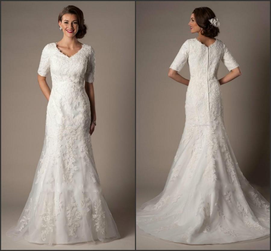 Modest custom 2015 a line wedding dresses winter bridal for Modest a line wedding dresses