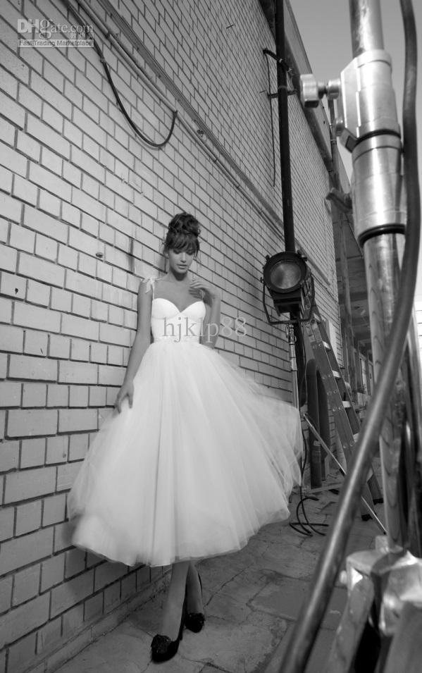 Wedding - 2013 Inbal Dror Floor Length Organza Spaghetti Sleeveless Knee Length Ruffles Backless A-line Bridal Gown Beach Wedding Dresses Online with $122.56/Piece on Hjklp88's Store