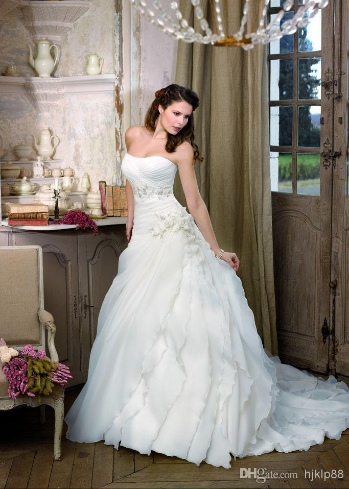 Wedding - 2014 New Strapless Beading Applique Organza A-line Lace-up Wedding Dresses Handmade Flowers Chapel Train Bridal Gowns Online with $115.71/Piece on Hjklp88's Store