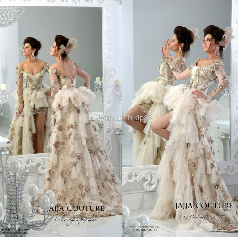 Boda - 2014 JaJJa-couture Vintage Backless Wedding Dresses Sweetheart Sheer Long Sleeve Luxury Crystal Hi-Lo Wedding Dress Applique Bridal Gowns Online with $145.96/Piece on Hjklp88's Store