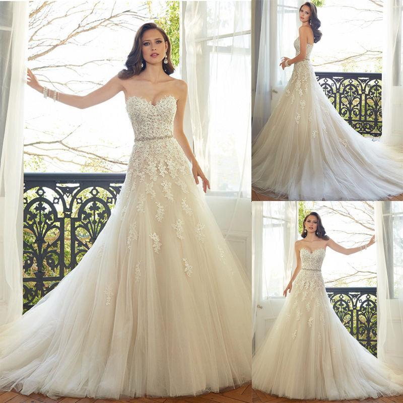 Wedding - 2015 New Designer Wedding Dresses Sweetheart Tulle Garden Applique Lace Sash Sleeveless Custom Bridal Dresses Ball Gowns Vestido De Novia Online with $119.33/Piece on Hjklp88's Store